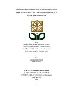 Efektivitas Program Muhadatsah Di Pondok Pesantren Ibnul Qoyyim Putri Tahun Ajaran 2011 2012 Ditinjau Dari Pendekatan Komunikatif Institutional Repository Uin Sunan Kalijaga