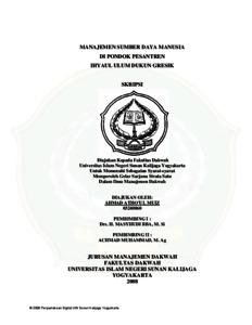 Manajemen Sumber Daya Manusia Di Pondok Pesantren Ihyaul Ulum Dukun Gresik Institutional Repository Uin Sunan Kalijaga