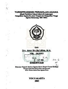 Yurisprudensi Peradilan Agama Studi Pemikiran Hukum Islam Di