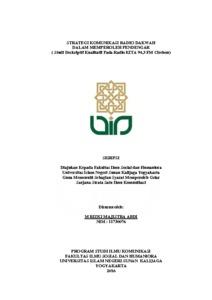 Strategi Komunikasi Radio Dakwah Dalam Memperoleh Pendengar Studi Deskriptif Kualitatif Pada Radio Kita 94 3 Fm Cirebon Institutional Repository Uin Sunan Kalijaga