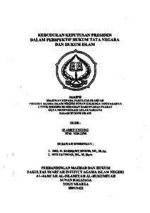 Kedudukan Keputusan Presiden Dalam Perspektif Hukum Tata Negara Dan Hukum Islam Institutional Repository Uin Sunan Kalijaga